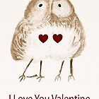 I Love You Valentine Birdie Kiss by Trish Loader