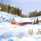 Ray&#x27;s Red Barn Snowed In by Joan A Hamilton