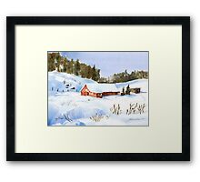 Ray's Red Barn Snowed In Framed Print