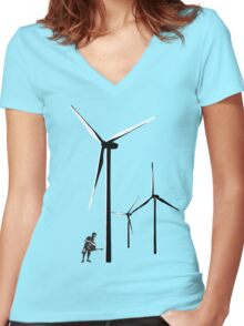 Wind Farm Women's Fitted V-Neck T-Shirt