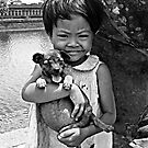 Girl with a puppy B&W by Joozu