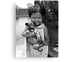 Girl with a puppy B&W Canvas Print