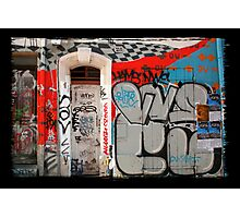 Wall, door and graffitis Photographic Print