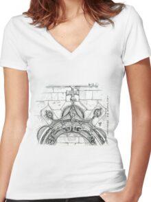 Mosteiro da Batalha sketch Women's Fitted V-Neck T-Shirt