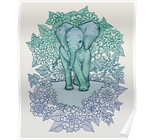 Emerald Elephant in the Lilac Evening Poster