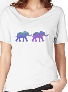 Follow The Leader - Painted Elephants in Purple, Royal Blue, & Mint Women's Relaxed Fit T-Shirt