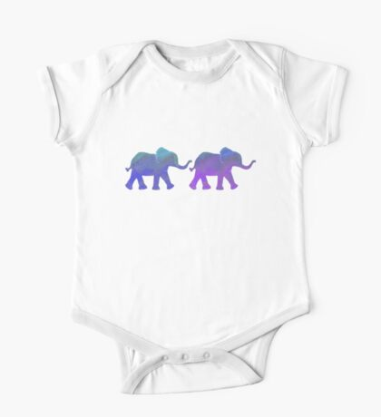 Follow The Leader - Painted Elephants in Purple, Royal Blue, & Mint One Piece - Short Sleeve