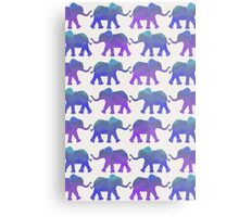 Follow The Leader - Painted Elephants in Purple, Royal Blue, & Mint Metal Print