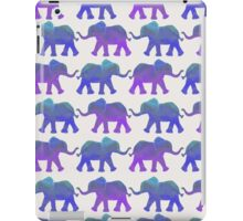 Follow The Leader - Painted Elephants in Purple, Royal Blue, & Mint iPad Case/Skin