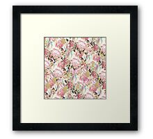 Vintage painting pink red flowers pattern Framed Print