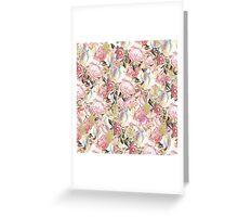 Vintage painting pink red flowers pattern Greeting Card