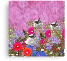 Vintage brown butterfly fuchia floral pattern Canvas Print
