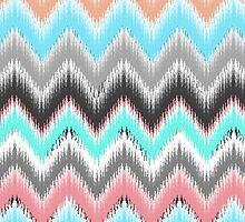 Modern pink teal black ikat pattern by Maria Fernandes