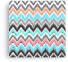 Modern pink teal black ikat pattern Canvas Print