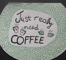 Coffee craving typography and mug doodle on black background by AnnestiMeets