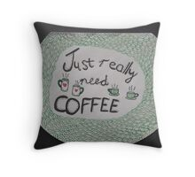 Coffee craving typography and mug doodle on black background Throw Pillow