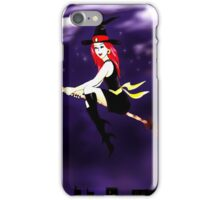 Witch on a broomstick flying in the night iPhone Case/Skin