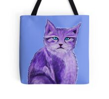 Unique painted purple cat with blue eyes Tote Bag