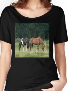 Black and white and brown horse Women's Relaxed Fit T-Shirt