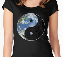 Heaven and Earth Yin Yang Symbol Women's Fitted Scoop T-Shirt