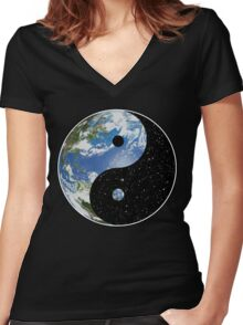 Heaven and Earth Yin Yang Symbol Women's Fitted V-Neck T-Shirt