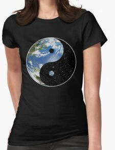 Earth / Space Yin Yang Symbol Womens Fitted T-Shirt
