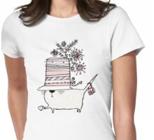 Cup of Tea Cat Womens Fitted T-Shirt