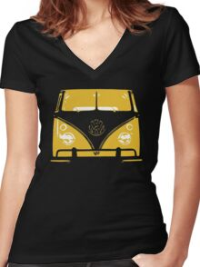 VW Kombi Yellow Design Women's Fitted V-Neck T-Shirt