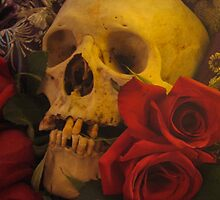Skull and roses still life by herenorthereart