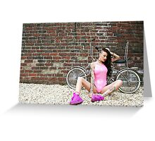 Pink Swimsuit and Chrome Chopper Greeting Card