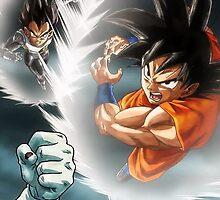 Vegeta and Goku Vs. Frieza  by EddieER
