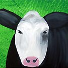 Moo Cow on Green Background Painting  by MooSomething