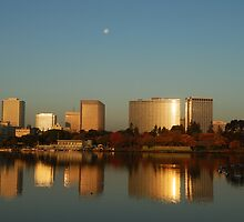 Lake Merritt Sunrise-Moonset, Oakland, California by Cathy P. Austin