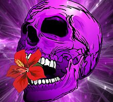 Purple Sugar Skull with Hibiscus Flower by BluedarkArt