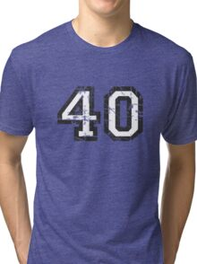 Number 40 Vintage 40th Birthday Anniversary Tri-blend T-Shirt