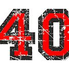 Number 40 Black/Red Vintage 40th Birthday Design by theshirtshops