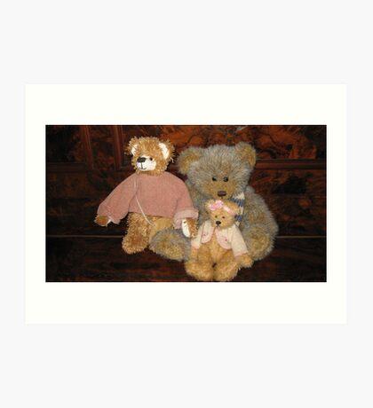 Three Teddy Bear Friends. Art Print