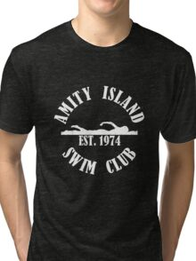 Amity Island Swim Club White Tri-blend T-Shirt