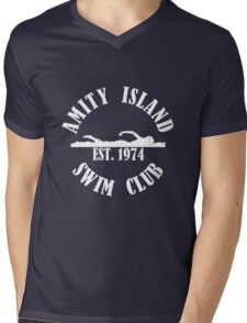 Amity Island Swim Club White Mens V-Neck T-Shirt