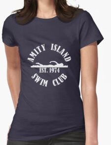 Amity Island Swim Club White Womens Fitted T-Shirt