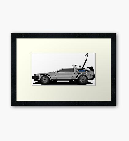 The DeLorean Time Machine, Back to the Future Framed Print
