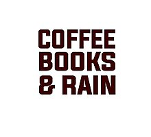 Coffee books & rain Photographic Print