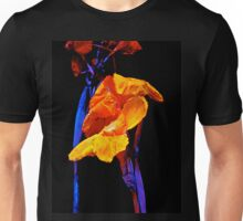 Canna Lilies on Black With Blue Unisex T-Shirt