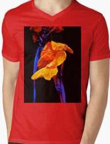Canna Lilies on Black With Blue Mens V-Neck T-Shirt