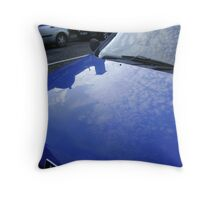 sky blue car Throw Pillow
