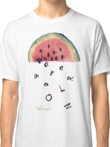 Watercolor illustration of watermelon on texture paper. Vector illustration. Classic T-Shirt