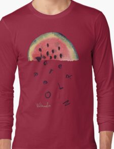 Watercolor illustration of watermelon on texture paper. Vector illustration. Long Sleeve T-Shirt