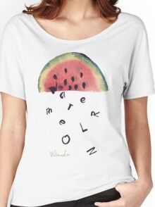 Watercolor illustration of watermelon on texture paper. Vector illustration. Women's Relaxed Fit T-Shirt