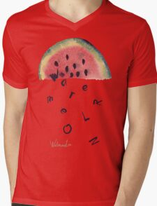 Watercolor illustration of watermelon on texture paper. Vector illustration. Mens V-Neck T-Shirt