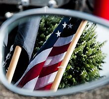 Flag Reflection in a Fat Boy Mirror by joaniedrake